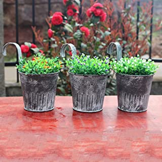 dezirZJjx Mini Micro Landscape,Wall Hanging Flower Pot Garden Fence Balcony Plants Holder Bucket Vintage Decor- Best Indoor Outdoor Decorations for Patio Yard Office and House