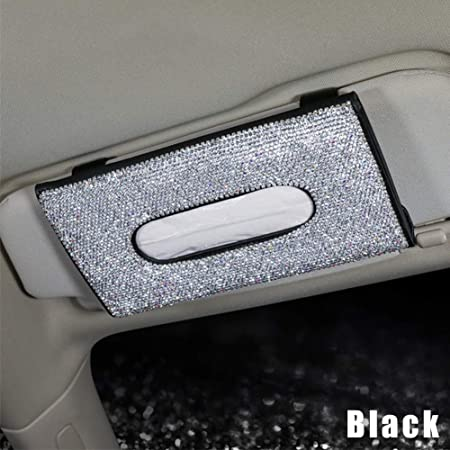 Dogggy Bling Bling Auto Tissue Box Halter Kristall Funkelnden Auto Sonnenblende Serviettenhalter Pu Leder Rücksitz Tissue Case Auto Zubehör Für Frauen Auto
