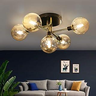 Lámpara de techo ZMH Lámpara de techo con 5 llamas Zócalo G9 de bola de cristal lámpara de sala lámpara de dormitorio lámpara interior