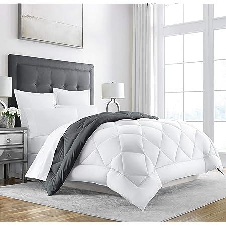 Sleep Restoration King Size Comforter for Bed - Down Alternative, Heavy, All-Season Luxury, Hotel Bedding, Oversized Reversible Comforters, Grey/White