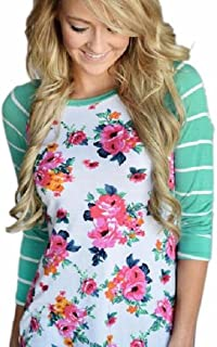 ANGLIN Women Striped Floral Long Sleeve Round Neck Shirt Top Blouse (L)