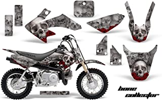AMR Racing MX Dirt Bike Graphic Kit Sticker Decals Compatible with Honda CRF50 2004-2013 - Bone Collector Silver