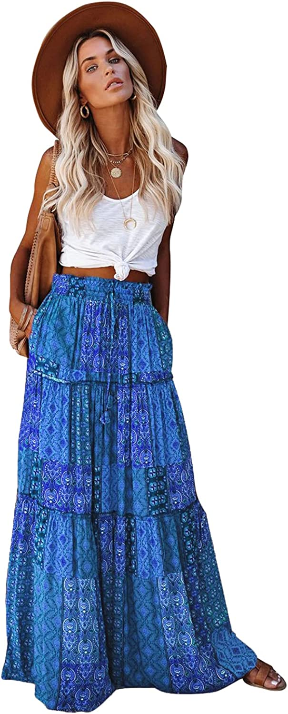 EARKOHA Womens Casual High Waist Tiered Paisley Print Long Maxi Skirt with Pockets