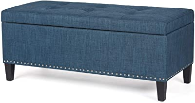 Homebeez Large Storage Ottoman Bench Tufted Fabric Footrest for Entryway Living Room (Dark Steelblue), 41.5""