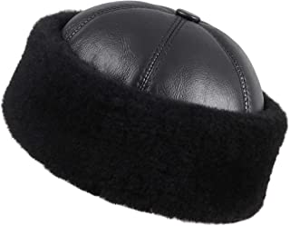 Zavelio Women's Shearling Sheepskin Winter Fur Beanie Hat
