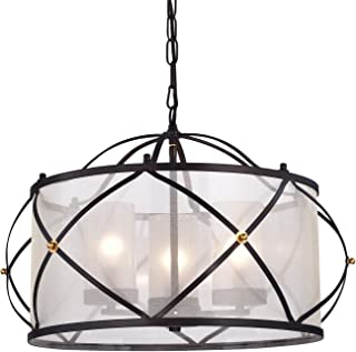 Edvivi Merga 3-Light Oil Rubbed Bronze Wrought Iron Drum Ivory White Shade Chandelier Ceiling Fixture | ORB | Coastal Lighting