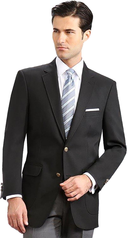 Men's Elegant Modern 2 Button Notch Lapel Blazer - Many Colors (52 Long, Black)