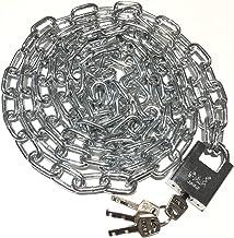 WXYZ Keyed Padlocks Fietsketenslot, heavy-duty staalbeveiliging Anti-diefstal slot voor fietsmagazijnpoort, 0.5m, 0.8m, 1...