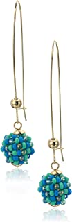 Kenneth Cole Women's Turquoise Woven Seed Bead Ball Long Drop Earrings, One Size