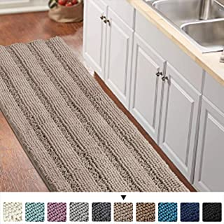 Non-Slip Bath Runners for Bathroom Luxurious Chenille Area Rug for Kitchen Machine-Washable Bath mats for Doormats/Tub,Size 59x20 Inch, Khaki