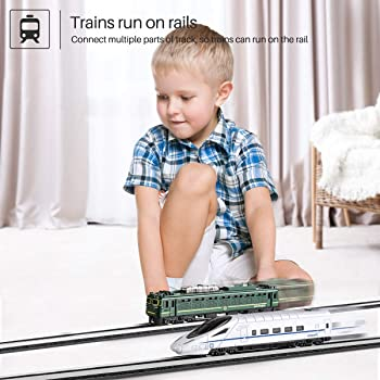 Toy Train Set For Toddlers, GEYIIE Kids Metal Alloy Trains Set City Classical Trains Railway with Track, Metro Bullet...