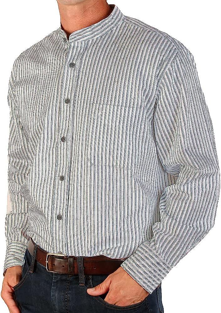 1920s Men's Shirts and Collars History The Celtic Ranch Traditional Collarless Grandfather Shirt Mens Long Sleeve Dress Shirt  AT vintagedancer.com