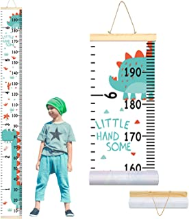AMERTEER Kids Growth Chart, Wall Ruler Wood Frame Fabric Canvas Removable Height Measure Chart Wall Decor for Children's R...