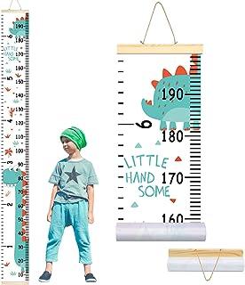 AMERTEER Kids Growth Chart، مسطرة الحائط الخشب الإطار قماش قماش قابل للإزالة قياس الارتفاع الرسم البياني ديكور الحائط لغرف...