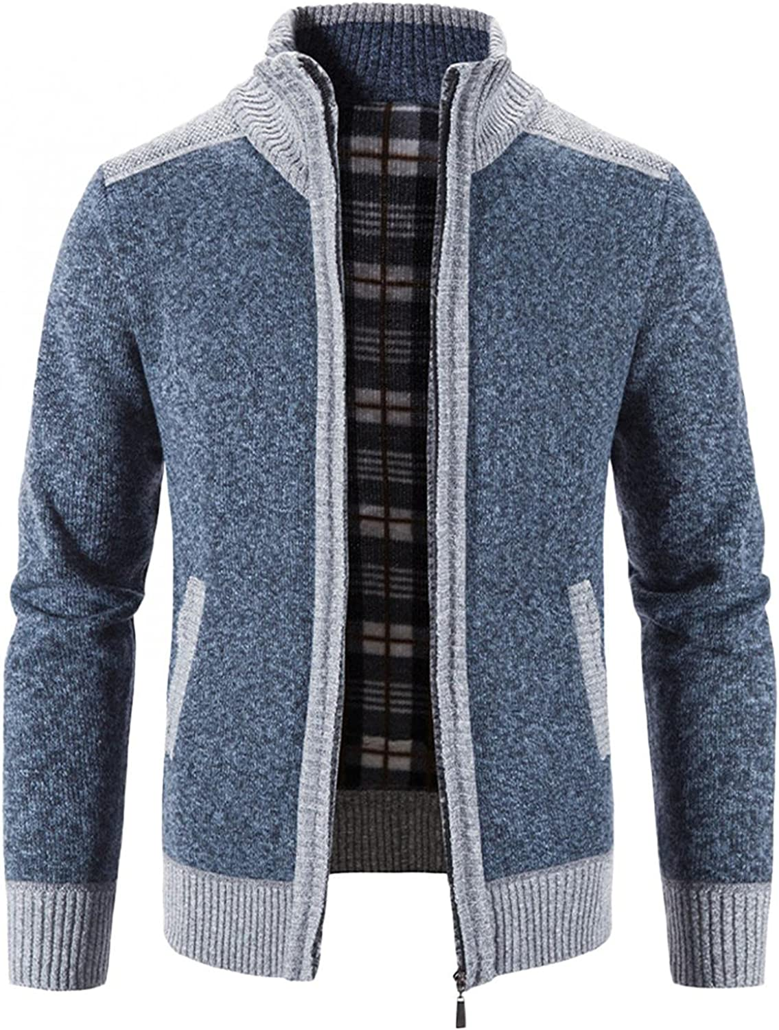Aayomet Fashion Cardigan for Men Winter Warm Patchwork Zipper Long Sleeve Stand Collar Casual Pullover Tops Blouses Coat