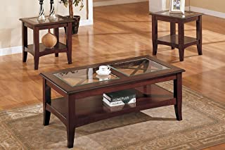 3-piece Luxurious Glass Wood Coffee Table & End Tables Set