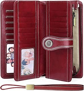 TZL Women's Leather Clutch Wallets RFID Blocking Lady Large Capacity Travel Purse with Zipper