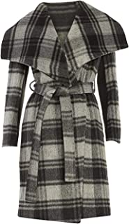 Women's Gray Plaid Wrap Coat