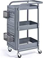 KINGRACK 3-Tier Storage Rolling Cart, Metal Push Cart with DIY Pegboard, Trolley Organizer with Utility Handle and Extra...