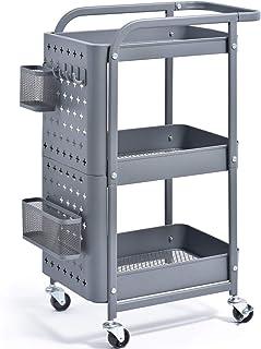 Kingrack - Chariot de rangement à 3 niveaux - Support de rangement mobile - En métal - Avec crochets - Poignées - Roulette...