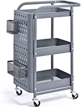 KINGRACK 3-Tier Storage Rolling Cart, Metal Push Cart with DIY Pegboard, Trolley Organizer with Utility Handle and Extra B...