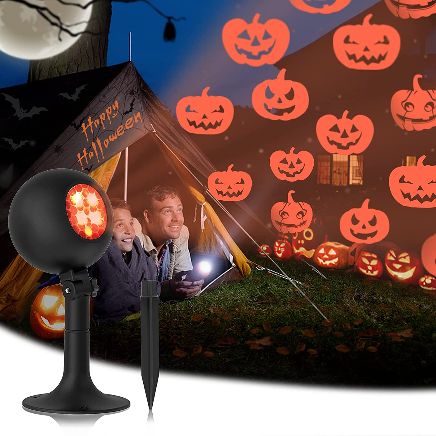 Halloween Lights, Outdoor Pumpkin Light Projector Indoor Holiday Decoration Lamp Waterproof LED Show Dynamic Spotlight Outside Night Projection for Party House Home Yard Garden Decorations