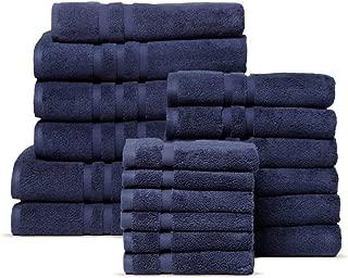 Chortex Irvington %100 Turkish Cotton Towel Set, 18 Pcs (6 Washcloths, 6 Hand Towels, 3 Bath Towels, 2 Bath Sheets, 1 Bath Mat) (Navy)