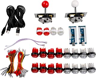 Easyget 2 Player LED Arcade Game DIY Parts PC to Joystick For USB MAME Cabinet & Raspberry Pi RetroPie DIY Projects Red + White Kit