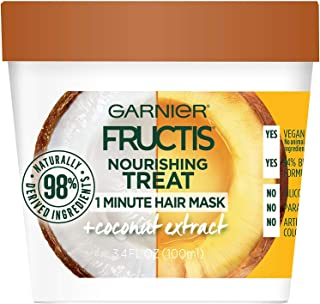 Garnier Fructis Nourishing 1 Minute Hair Mask, Coconut, 3.4 fl. oz. (Pack of 2)