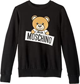 Long Sleeve Teddy Bear Logo Graphic Sweat Top (Big Kids)