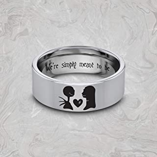 Jack Skellington Jewelry, Nightmare Before Christmas, Jack And Sally Wedding Band, We're Simply Meant to Be Ring, Jack Disney Ring