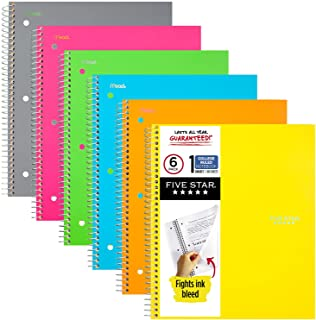 Five Star Spiral Notebooks, 1 Subject, College Ruled Paper, 100 Sheets, 11 x 8-1/2 inches, Assorted Colors, 6 Pack (38057) photo