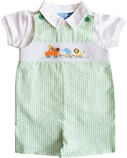 Good Lad Newborn/Infant Boys Green Seersucker Smocked Shortall Set with Animal Appliques