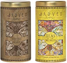 Jarved Teas and Coffee of The World Gift Set-15 Teas from 10+ Countries   Mysore Instant Coffee   Set of 2 Tin Boxes   150g Each