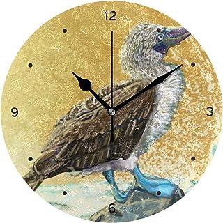 インテリア 掛け時計 サイレント キッズ 子供 部屋 簡単 青い足ブービー日の出柄 子供 置き時計 おしゃれ 北欧 時計 壁掛け 連続秒針 電池式 [並行輸入品]