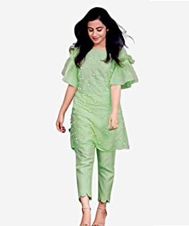 Fast Fashions Women's Heavy Pure Cotton Kurta with Palazzo (Fit Up To XL)