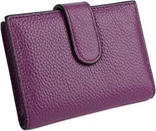 YALUXE 31 Card Slots Soft Cowhide Leather Card Case Holder Purple