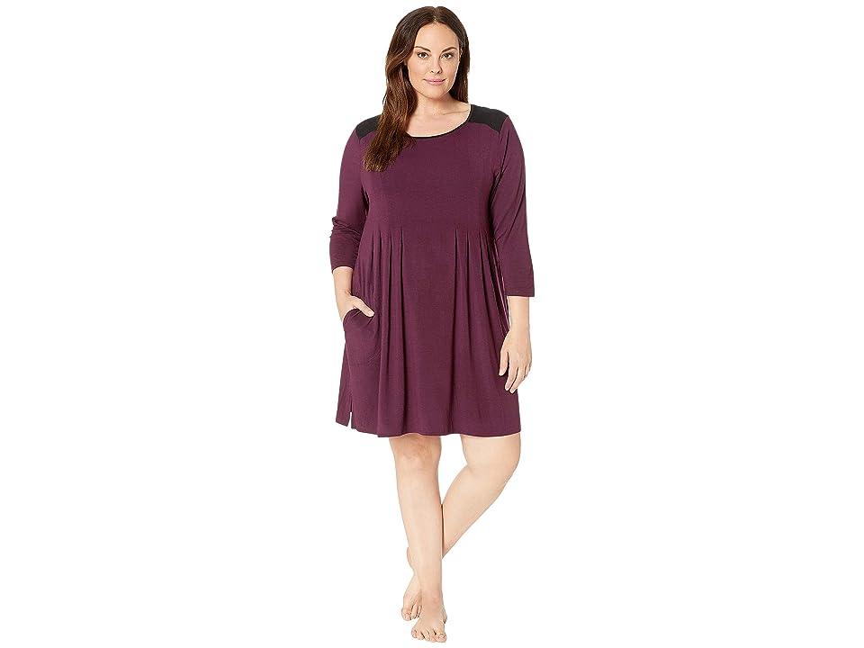 Donna Karan Plus Size Classic Jersey Sleepshirt (Burgundy Heather) Women