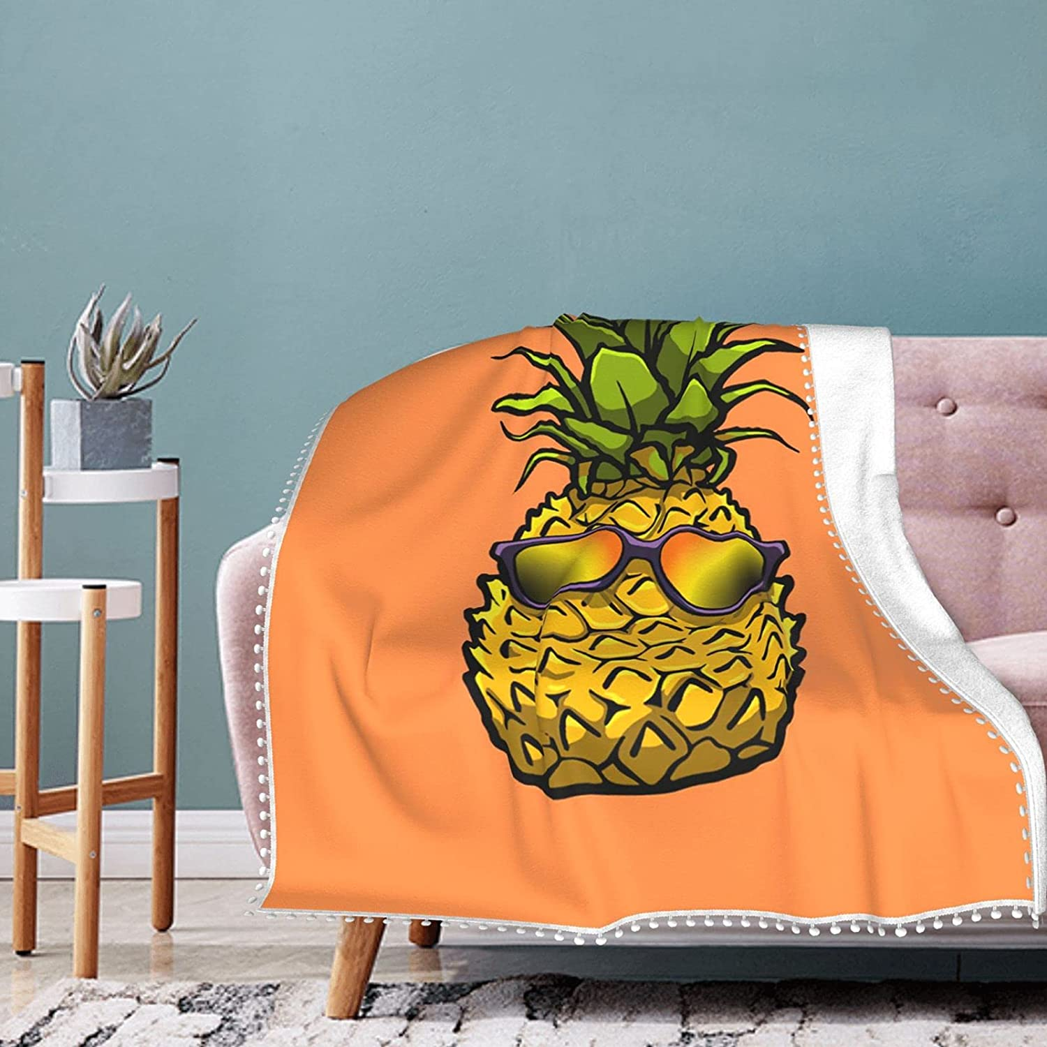 Today's only Pineapple with Sunglasses Fleece Fringe Max 61% OFF Pompom Sum Blanket