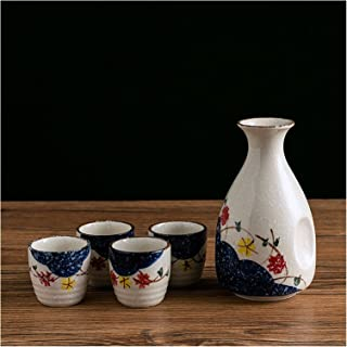 XinQing-Wine set مجموعة النبيذ المزجج الثلوج السيراميك، وعاء من أجل ثلاث قطع، وعاء 1x، أكواب 4X وصينية 1x