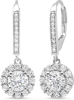 63f7dfc04 3.60 CT ROUND CUT CZ Solitaire Halo PAVE DROP DANGLE LEVERBACK EARRINGS 14K  White GOLD