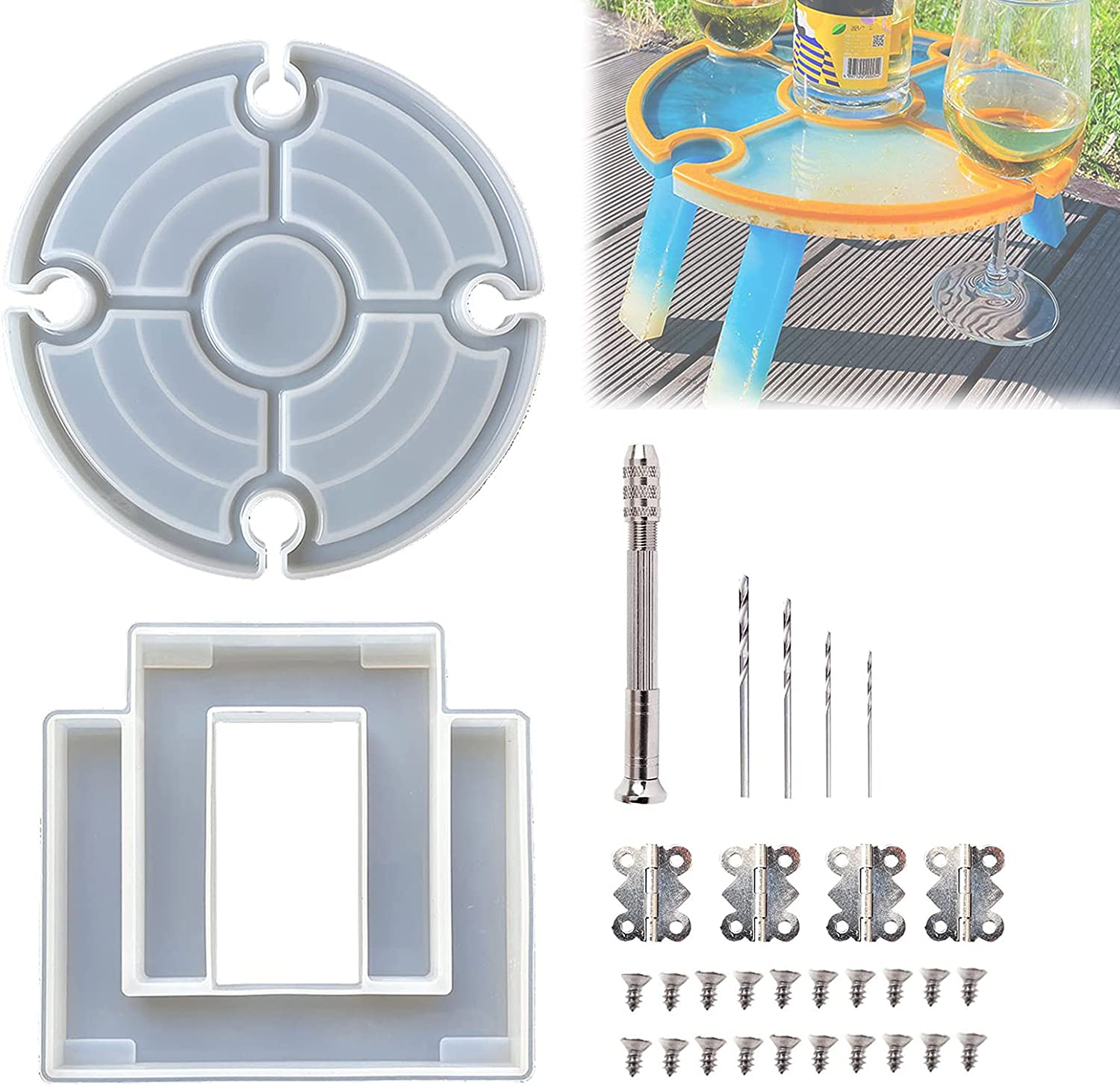 LASULEN Dinner Plate Silicone Mold, Folding Picnic Table Set, Epoxy Dinner Plate Mould, Epoxy Resin Table Molds Large Reusable, Divided Grid + Wine Glass Grid, with Hinges Screws Manual Hole Punch