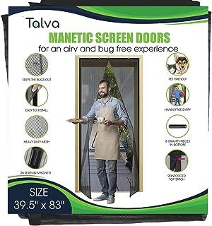 """Magnetic Screen Door by Talva - Mesh Heavy Duty - Fits Doors up to 39.5"""" x 83"""" - Hands Free, Kid Friendly - Screen Door wi..."""
