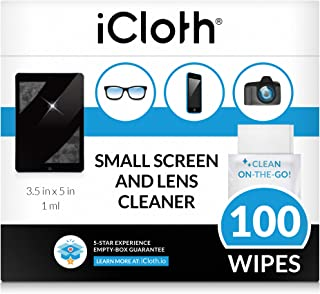 iCloth Lens and Screen Cleaner Pro-Grade Individually Wrapped Wet Wipes, Wipes for Cleaning Small Electronic Devices Like Smartphones and Tablets, Box of 100
