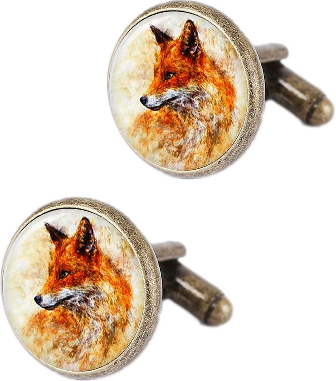 Kooer Mens Cufflinks, Vintage Fox Gold Cufflinks Bronze Cuff Links Gift for Dad Boy Friend Father Husband