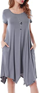 Women Casual Loose Soft Crewneck Short Sleeve Pockets Swing T-Shirt Dress