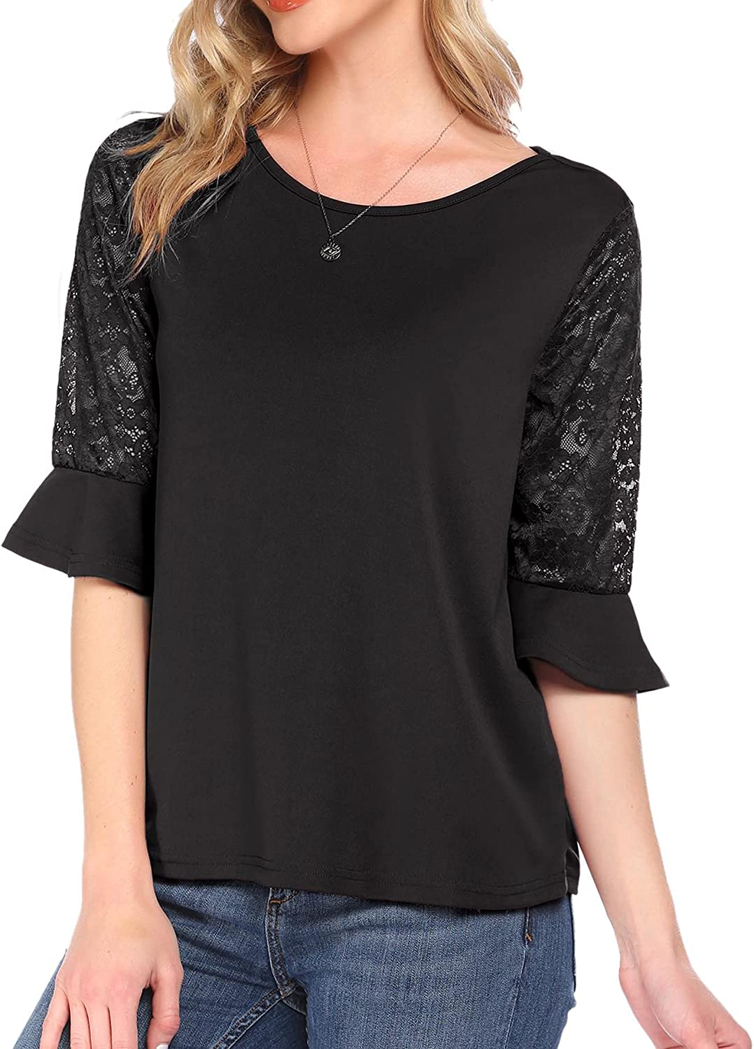 Meaneor 3/4 Sleeve Shirts for Women Tops and Blouses Round Neck Lace Sleeve T-Shirts for Women S-XXL