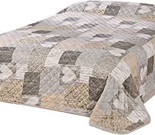 Delindo Lifestyle® Herzen Jeté de lit pour lit double Motif patchwork avec cœurs Marron 220x 240&nb...