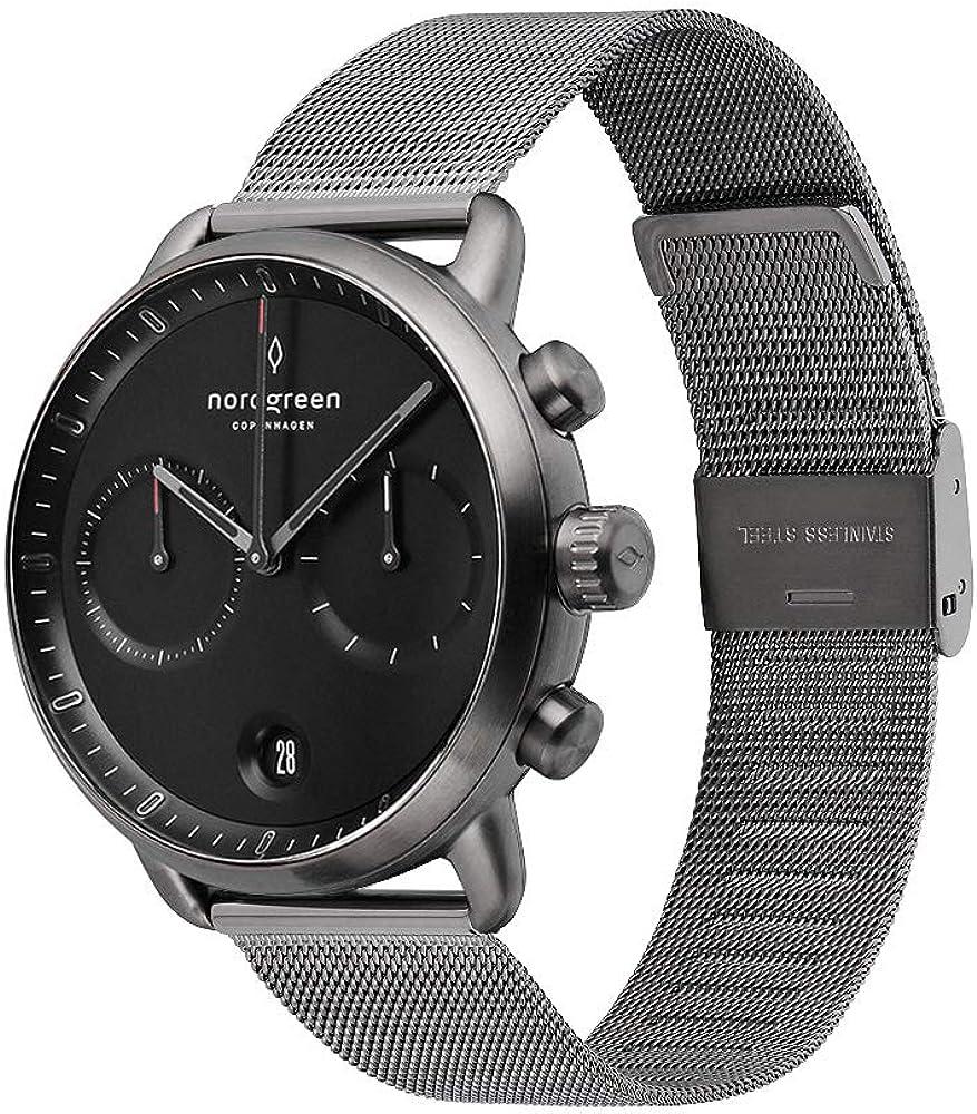 Nordgreen Pioneer - Reloj cronógrafo para hombre, esfera negra, 42 mm y correas intercambiables