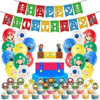 Super Mario Bros Party Supplies Mario Birthday Party Supplies Mario Balloons Banner Cake Toppers for Party Decorations, Se...